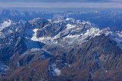 Vista stupefacente di inverno delle alpi dal paradiso del ghiacciaio del Cervino Fotografie Stock Libere da Diritti