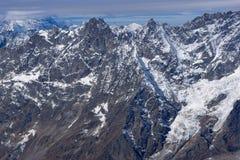 Vista stupefacente di inverno delle alpi dal paradiso del ghiacciaio del Cervino, cantone del Valais Immagine Stock