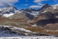 Vista stupefacente di inverno delle alpi svizzere, Svizzera Fotografia Stock Libera da Diritti