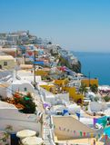 Vista stupefacente di Oia in Santorini Fotografia Stock