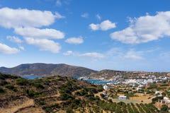Vista stupefacente nell'isola di Lipsi, Dodecanese, Grecia Fotografia Stock