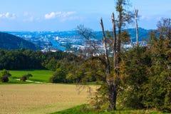 Vista a Stuttgart con il fiume il Neckar Fotografie Stock Libere da Diritti