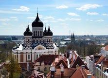 Vista su Alexander Nevsky Cathedral a Tallinn, Estonia Immagini Stock