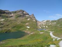 Vista su Bachalpsee e su Faulhorn Svizzera Fotografia Stock Libera da Diritti