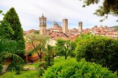 vista su Bergamo e sulle chiese Fotografia Stock Libera da Diritti