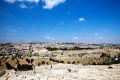 Vista su Gerusalemme dalla montagna verde oliva Fotografie Stock
