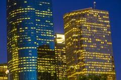 Vista su Houston del centro di notte Immagini Stock