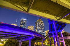 Vista su Houston del centro di notte Fotografia Stock