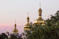 Vista su Kiev-Pechersk ivening Lavra a Kiev Fotografie Stock Libere da Diritti