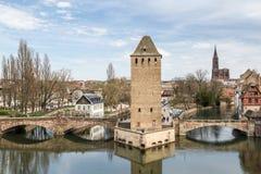 Vista su poco distretto della Francia a Strasburgo Immagini Stock Libere da Diritti