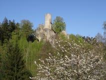 Vista su rovina del castello di Frydstejn Fotografie Stock Libere da Diritti