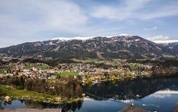 Vista su Seeboden in primavera Fotografia Stock Libera da Diritti