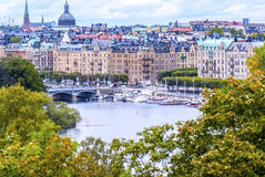 Vista su Stoccolma ricca da una collina Fotografia Stock Libera da Diritti