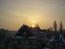 Vista su Strasburgo durante l'inverno Fotografia Stock Libera da Diritti