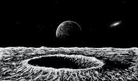 Vista su superficie della luna illustrazione vettoriale