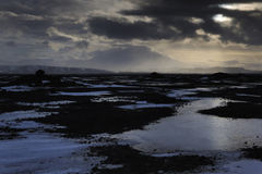 Vista su un paesaggio vulcanico congelato con Hekla Immagini Stock