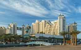 Vista sugli hotel di località di soggiorno di Eilat, Israele fotografia stock libera da diritti