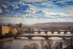 Vista sui ponti a Praga, repubblica Ceca Fotografie Stock Libere da Diritti
