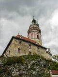 Vista sul castello in Cesky Krumlov immagine stock libera da diritti