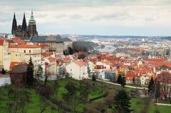 Vista sul castello di Praga, repubblica ceca Fotografia Stock