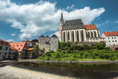 Vista sul centro storico di Cesky Krumlov europa Fotografie Stock