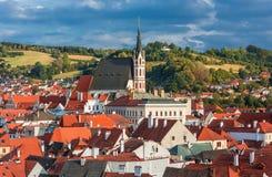 Vista sul centro storico di Cesky Krumlov, repubblica Ceca Immagini Stock