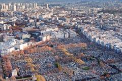 Vista sul cimitero di Montparnasse a Parigi Fotografia Stock