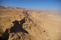 Vista sul deserto di Judean dalla fortezza di Masada Fotografia Stock