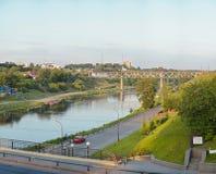 Vista sul fiume di Neman a Grodno Bielorussia Fotografia Stock