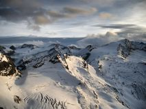 Vista sul ghiacciaio al tramonto nella sera Fotografie Stock Libere da Diritti