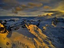 Vista sul ghiacciaio al tramonto nella sera Fotografia Stock Libera da Diritti