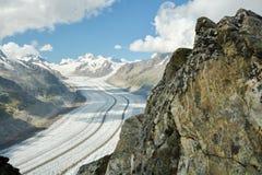 Vista sul ghiacciaio di Aletsch fotografie stock