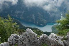 Vista sul Koenigssee da Jenner, Germania Immagini Stock Libere da Diritti