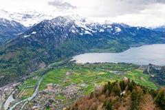 Vista sul lago alpino Thun da Interlaken, Svizzera Immagine Stock Libera da Diritti