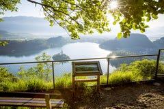 Vista sul lago dal punto di vista, Slovenia Bled Fotografia Stock