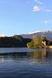 Vista sul lago dell'sanguinato di, la Slovenia Immagini Stock