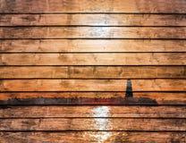 Vista sul mare al tramonto, faro sulla costa dipinta sul legno Immagine Stock Libera da Diritti