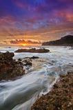 Vista sul mare al verticale del sunsire Fotografia Stock Libera da Diritti