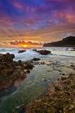 Vista sul mare al verticale del sunsire Fotografie Stock Libere da Diritti