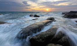 Vista sul mare alla punta del Borneo, Sabah, Malesia Immagini Stock