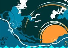 Vista sul mare astratta con l'onda ed il mare Fotografie Stock Libere da Diritti