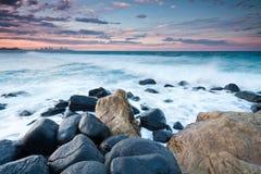 Vista sul mare australiana durante la penombra Fotografie Stock Libere da Diritti