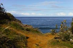 Vista sul mare blu dalla collina erbosa con il percorso immagini stock