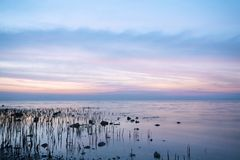 Vista sul mare blu romantica Fotografie Stock