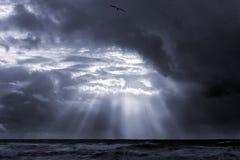 Vista sul mare con i raggi di sole Fotografie Stock