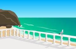 Vista sul mare con il gabbiano Immagini Stock Libere da Diritti