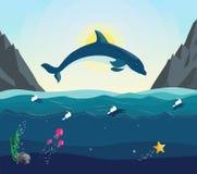 Vista sul mare con il mondo subacqueo nell'oceano Immagini Stock Libere da Diritti