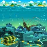 Vista sul mare con il tesoro ed il galeone. Fotografie Stock Libere da Diritti