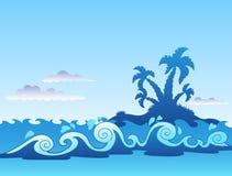 Vista sul mare con l'isola e le onde della palma Immagini Stock Libere da Diritti