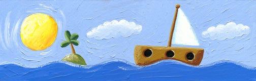Vista sul mare con la barca a vela Immagine Stock Libera da Diritti